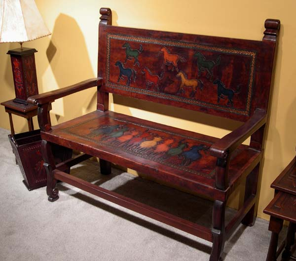 Painted Tooled Leather Bench: Western Passion