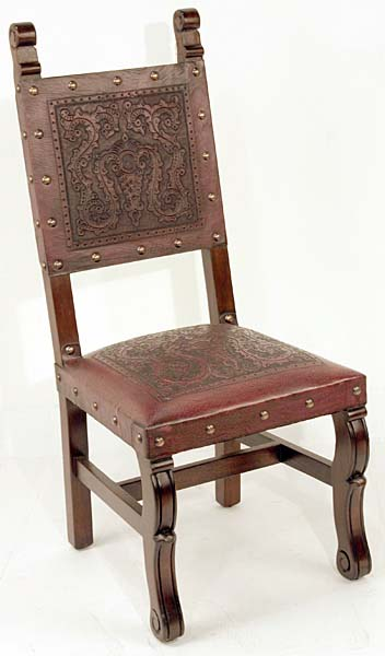 4 Tooled Leather Chairs