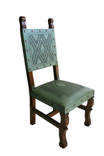 Genial 4 Tooled Leather Chairs In Turquoise