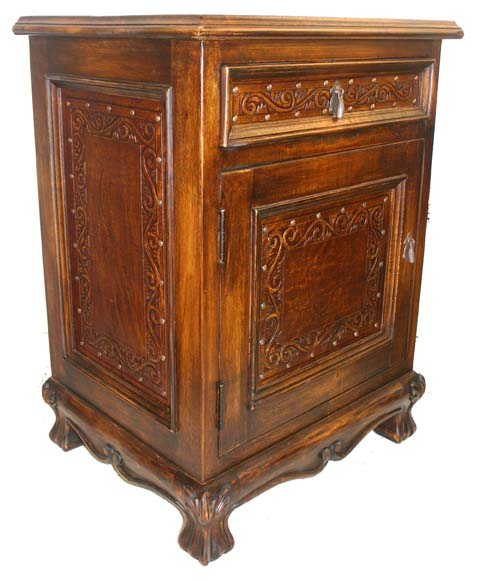 spanish tooled leather nightstand western bedroom