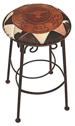 Iron Barstool With Leather Set of 4 Western Barstools and Bars