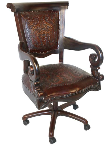 Tooled Swivel Office Chair Western Office Furniture - Free Shipping!