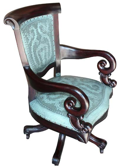 Turquoise Leather Office Chair