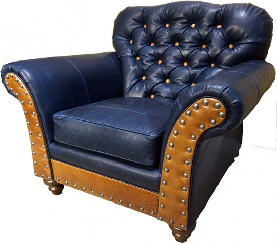 Navy Leather Tufted Club Chair