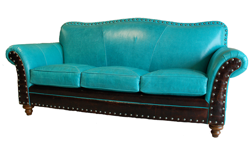Albuquerque Turquoise Leather Sofa Western Sofas And Loveseats Free Shipping