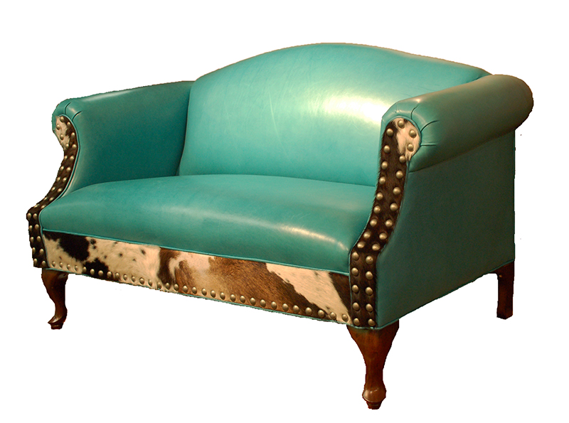 Albuquerque Turquoise Leather Settee Western Sofas And Loveseats Free Shipping
