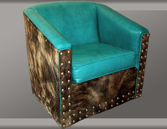 Turquoise Leather Swivel Glider Western Accent Chairs - Turquoise Leather Swivel Glider Western Accent Chairs - Free Shipping!