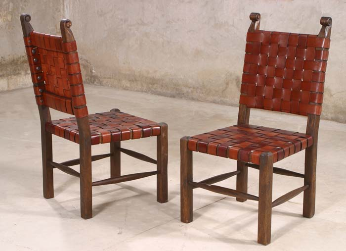 Leather Strap Dining Chairs Set Of 2 Western Dining Chairs