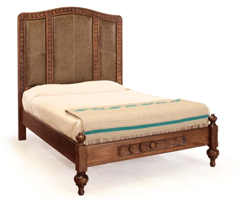 Jerome Carved Leather Bed Western Bedroom Furniture Free Shipping
