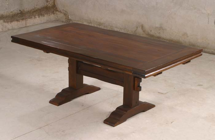 Rustic trestle dining table western dining tables free for Table western