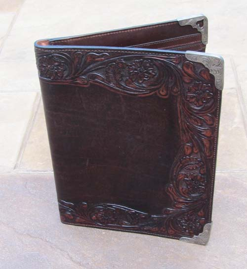 Tooled Leather And Silver Portfolio Western Passion