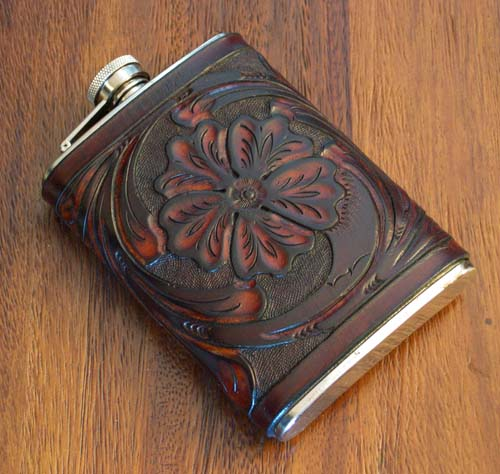 Tooled Leather Flask Western Passion