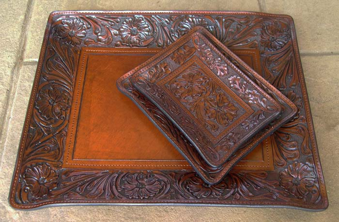 Hand Tooled Leather Trays Western Passion