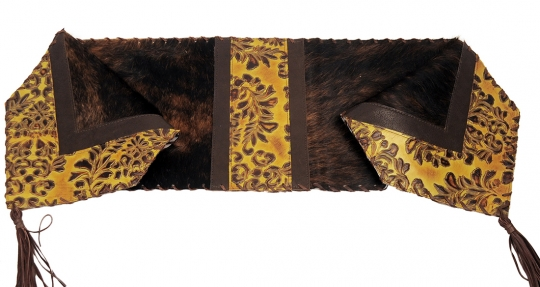Western Dark Brindle Leather Table Runner