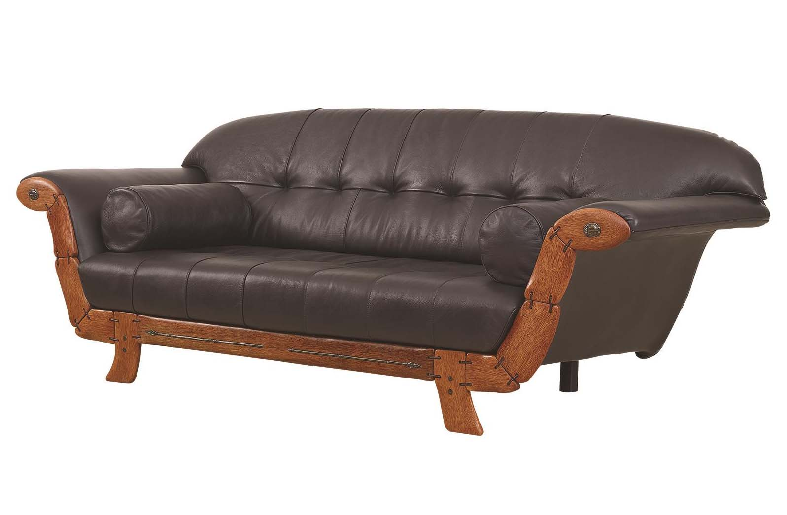 Pacific Green Scarab Black Leather Sofa: Western Passion
