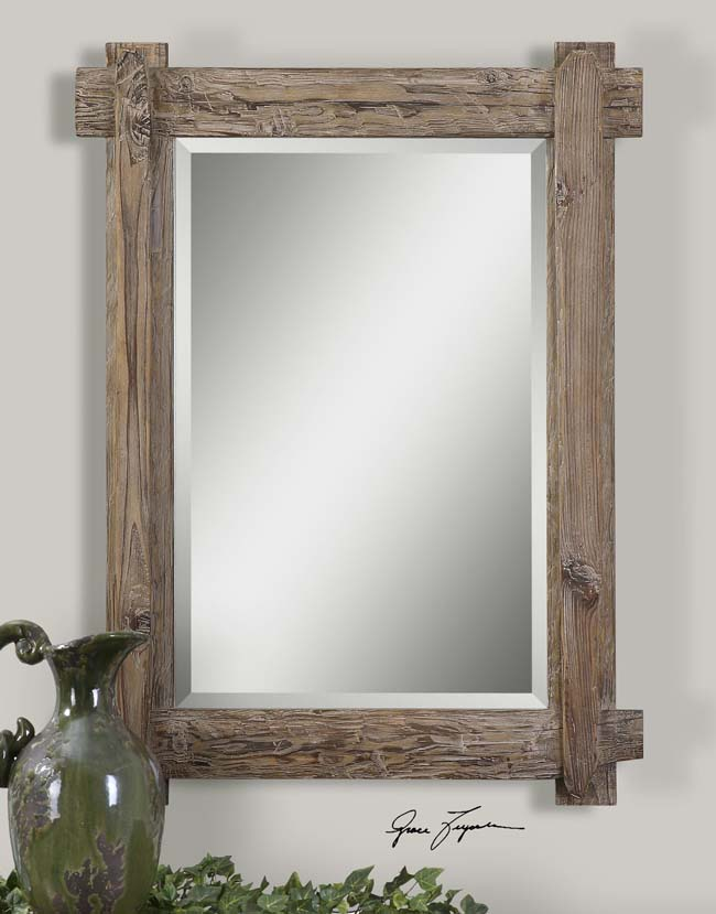 Rustic Wood Plank Mirror Western Passion