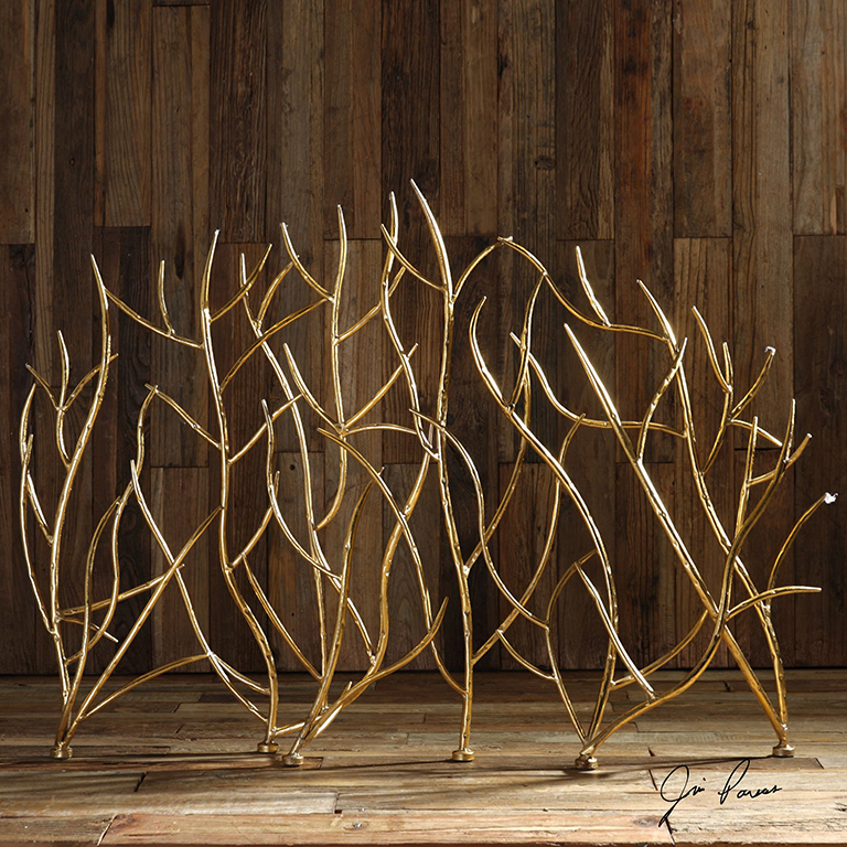 Gold Branches Decorative Fireplace Screen Western Passion