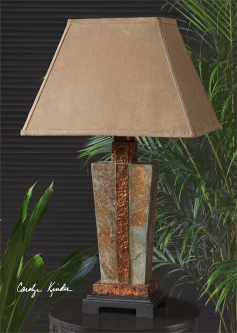 Western lamps western table floor lamps sconces westernpassion slate copper accent lamp aloadofball Gallery