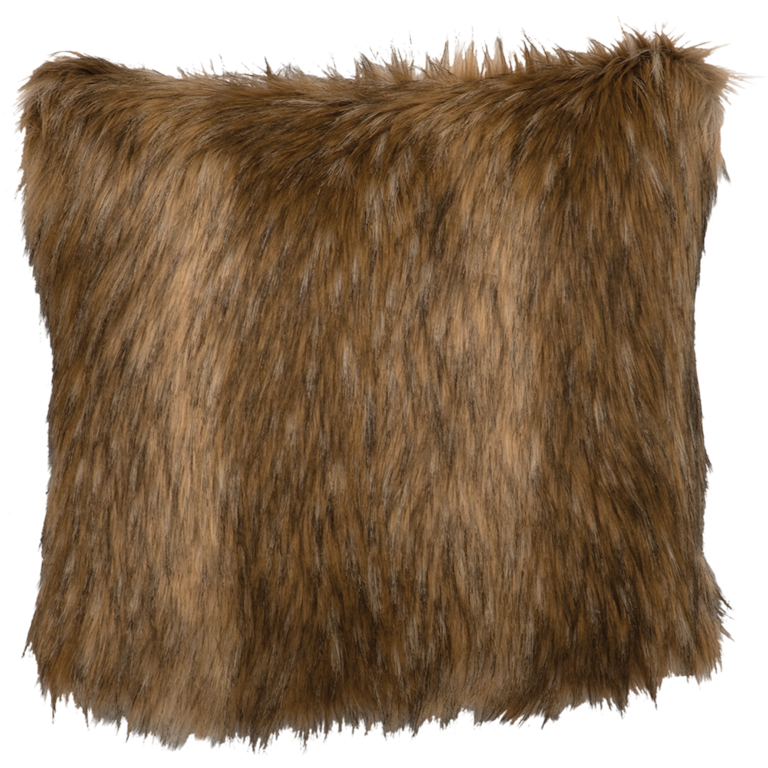 Wooded River Coyote Fun Fur Pillow: Western Passion
